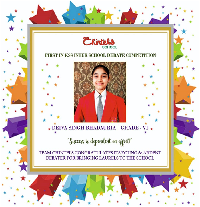 Work hard in silence, let success be your noise.. Aptly proved by our young and ardent debators - Deiva Singh Bhadauria of Grade VI  and Naman Pahuja of  Grade VII who bagged  the First Position and the Second Position respectively in the KSS Inter School Debate  Competition.   Congratulations on your well deserved victory.!! Three cheers for  #chintelians #achievers#proud #of #you