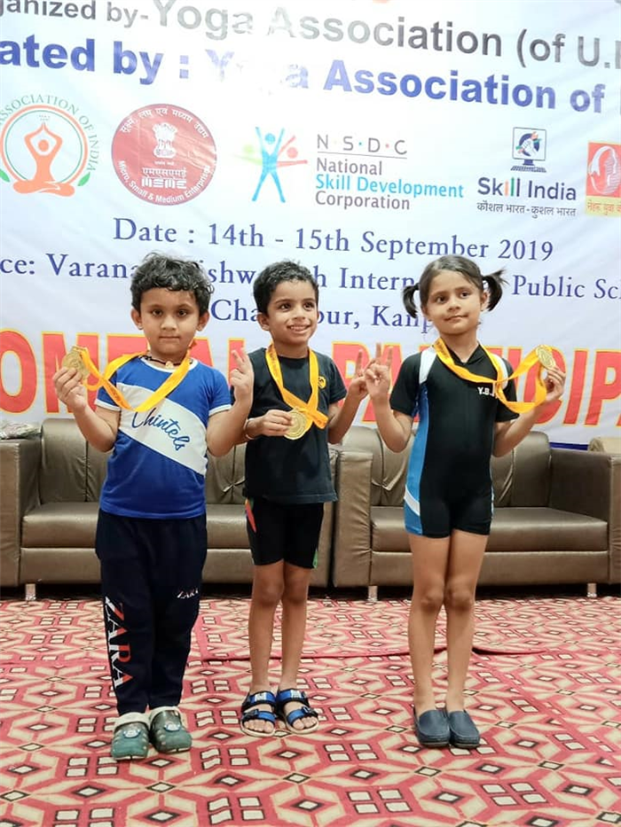 The Chintels School, Kalyanpur is elated and proud to introduce their achievers. Arnav Katiyar of Prep, Aarnav Sharma of Nursery and Nitara Dixit of Prep have proudly won Gold Medals in National Yoga Competition on 15.09.2019. (Kalyanpur)