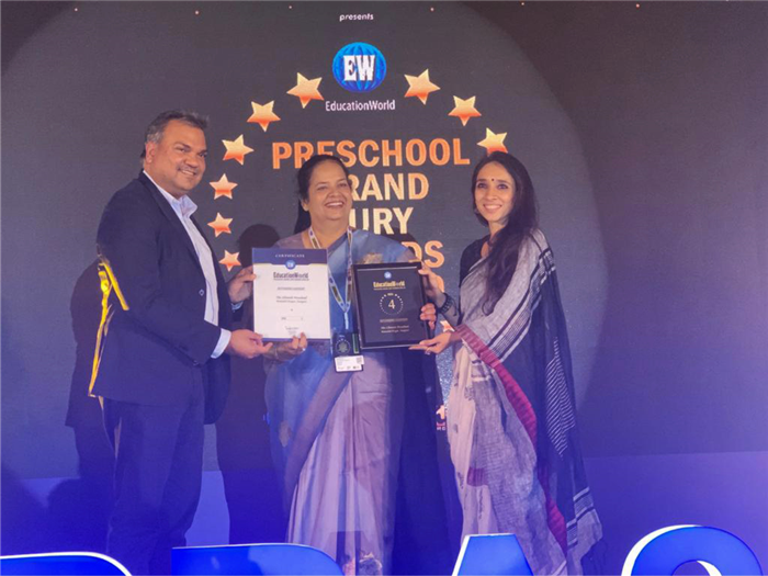 The Chintels School has just added another feather to its cap.The strong beliefs, values and dedication of the management members and staff have placed The Chintels School as #4 Pre Primary School in India. The award in the leadership category was received by the founder and director, Mrs Anurag Vij, on behalf of The Chintels family on 23 january at Mumbai.  The Chintels school Ratanlal nagar(Nursery Wing)has been awarded as India