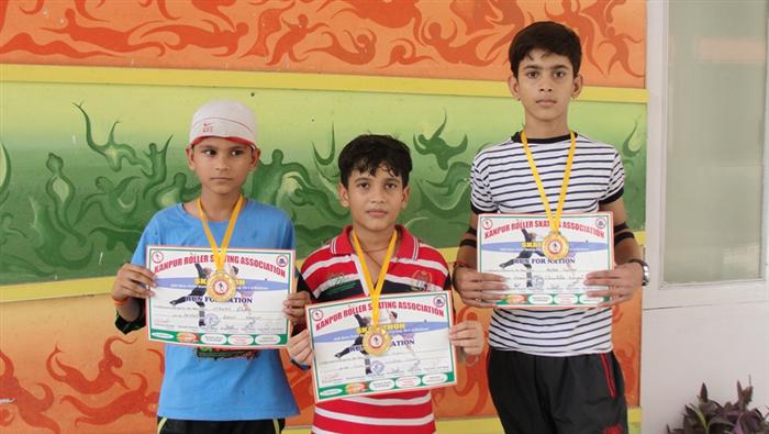 Utkarsh Shukla,Sahil Yadav and Aniket Dwivedi. Gold Medalist in Inter Skool Skating Championship. (Ratanlal Nagar)