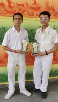 Ayush Sukla and Dhruc Lall. First in Inter-School ISCE Quiz Competition. (Ratanlal Nagar)