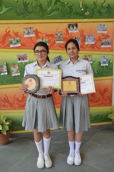 First in Inter School Debate Competition Simran Singh and Charu Pandey (Ratanlal Nagar)
