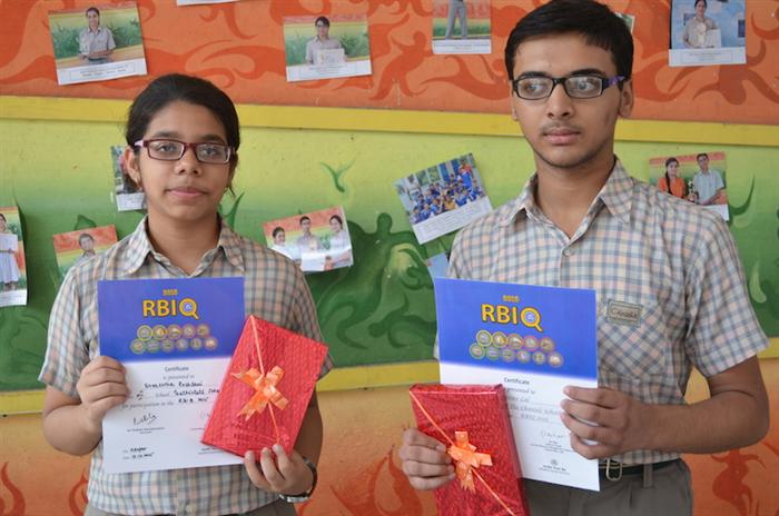Third in Inter School RBI Quiz. Shreshtha and Druv Lal (Ratanlal Nagar)