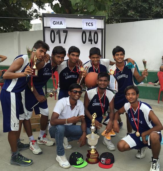 First in Inter School Basketball Tournament. (Senior) Rahul Harchandani, Ankur Bhatt, Krishanu Tripathi, Ujjwal Singh, Manvendra Singh, Vaibhav Srivastava, Pushkar. (Ratanlal Nagar)