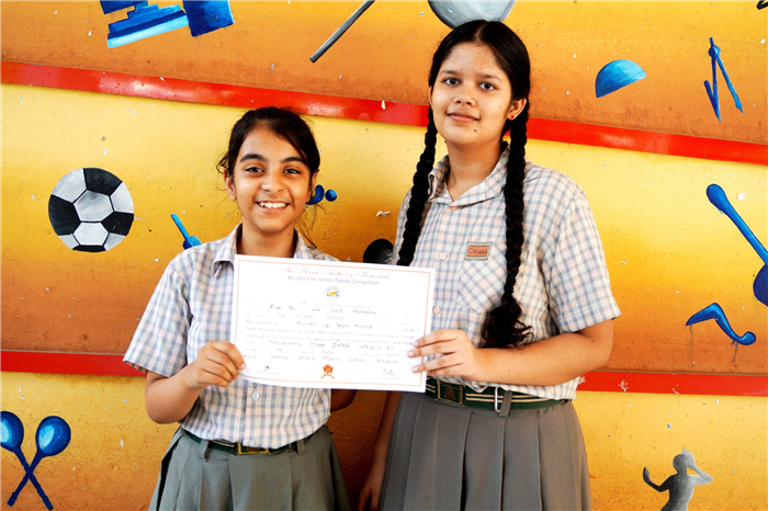 It was a proud moment for The Chintels School , Ratanlal Nagar as it bagged the Ist Runners up position at the Frank Anthony All India Inter School Debate Championship (Category II, Stage I) held at SIPS, Kanpur. With this win, the young debaters Uditi Mahindra of Class IX and Riya Rai of Class X qualified for the State Level to be held in the month of August. (Ratanlal Nagar)