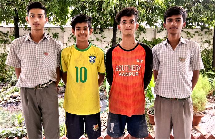Students selected for State Level  ICSE - ISC Football Championship - Piyush Singh, Rajbeer Singh, Dhruv Mishra, Mayank Tiwari (Ratanlal Nagar)