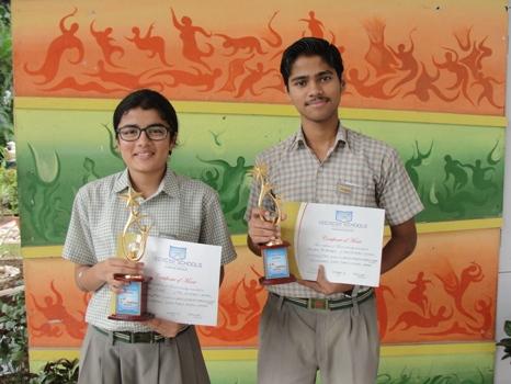 Saiyam Bhatnagar and Simran Singh. First in ICSE Inter School English Debate. (Ratanlal Nagar)