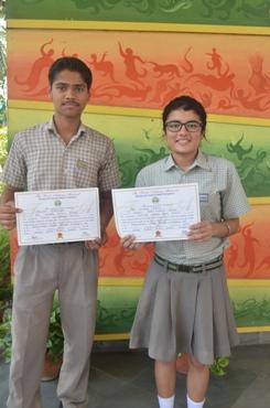 Saiyam Bhatnagar and Simran Singh. First in Inter School Frank Anthony Memorial English Debate (Ratanlal Nagar)