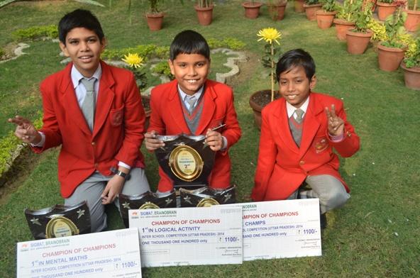 Prakhar,Aakansh and Arush. Winners of state level Brain O Brain. (Ratanlal Nagar)