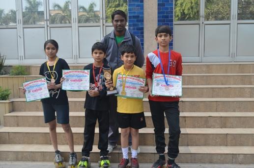 Medha,Aniket,sahil and Harsh. Gold medalists in Inter School Skating Tournament. (Ratanlal Nagar)