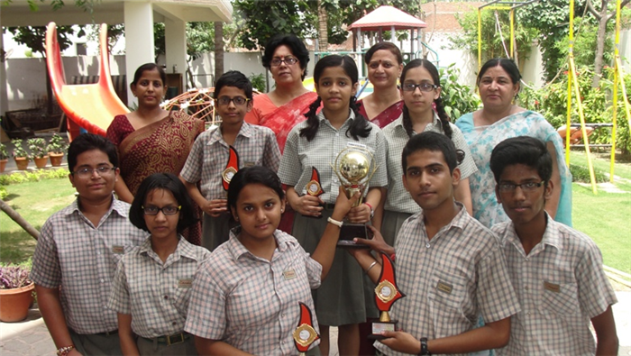 Mayank,Kavya,Shreya, Ashutosh,Shikhar,Bhavya and Arjun. First in Inter School ICSE and ISC Hindi creative writing (Ratanlal Nagar)