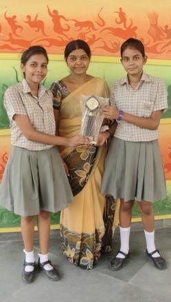 Galaxy and Mahima Gilbert. Firts in Inter School ICSE aart competition (Ratanlal Nagar)
