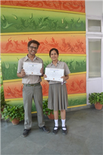Shubham Gautam and Charu Pnadey.First in ISC Inter-School Frank Anthony Memmorial English Debate (Ratanlal Nagar)