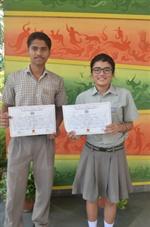 Saiyam Bhatnagar and Simran Singh. First in ICSE Inter-School Frank Anthony Memmorial English Debate (Ratanlal Nagar)