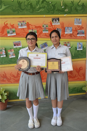 Charu Pandey and Simran Singh. First in Inter School Debate Competition. (Ratanlal Nagar)