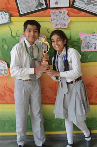First in Inter School English Creative Writing. Saksham Kankani and Uditi Mahindra. (Ratanlal Nagar)