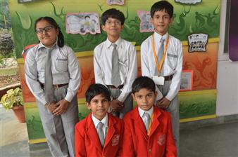 Winners of Olympiad - Harprabh Kaur, Shikhar Nigam, Apurva Arya, Vaibhav Dixit (Ratanlal Nagar)