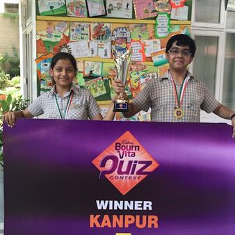 First in Inter School Bournvita Quiz Championship. Aadhya Tripathi and Ishan Garg. (Ratanlal Nagar)