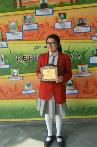 Simran Singh stood second in All India North Zone Inter School Debate Competition. First was MP, Second was UP (Simran Singh) and Third was Rajasthan. (Ratanlal Nagar)