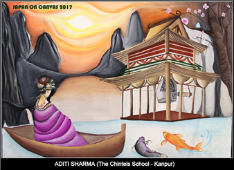 Congratulations to Aditi Sharma of Class – XI for making a place for herself in Top – 40 painters out of 1197 (Category – II) in the JAPAN ON CANVAS 2017 – National Level Painting Competition.  Her painting will be exhibited between 16th October, 2017 to 31st October, 2017 at the World University Design, New Delhi. (Ratanlal Nagar)